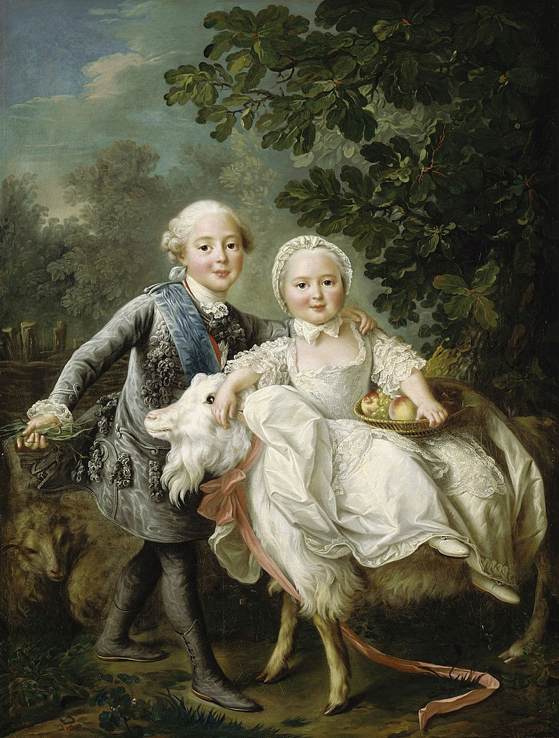 Charles x and his sister clotilde mounting a goat